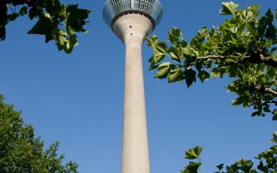Rheinturm durch Bäume